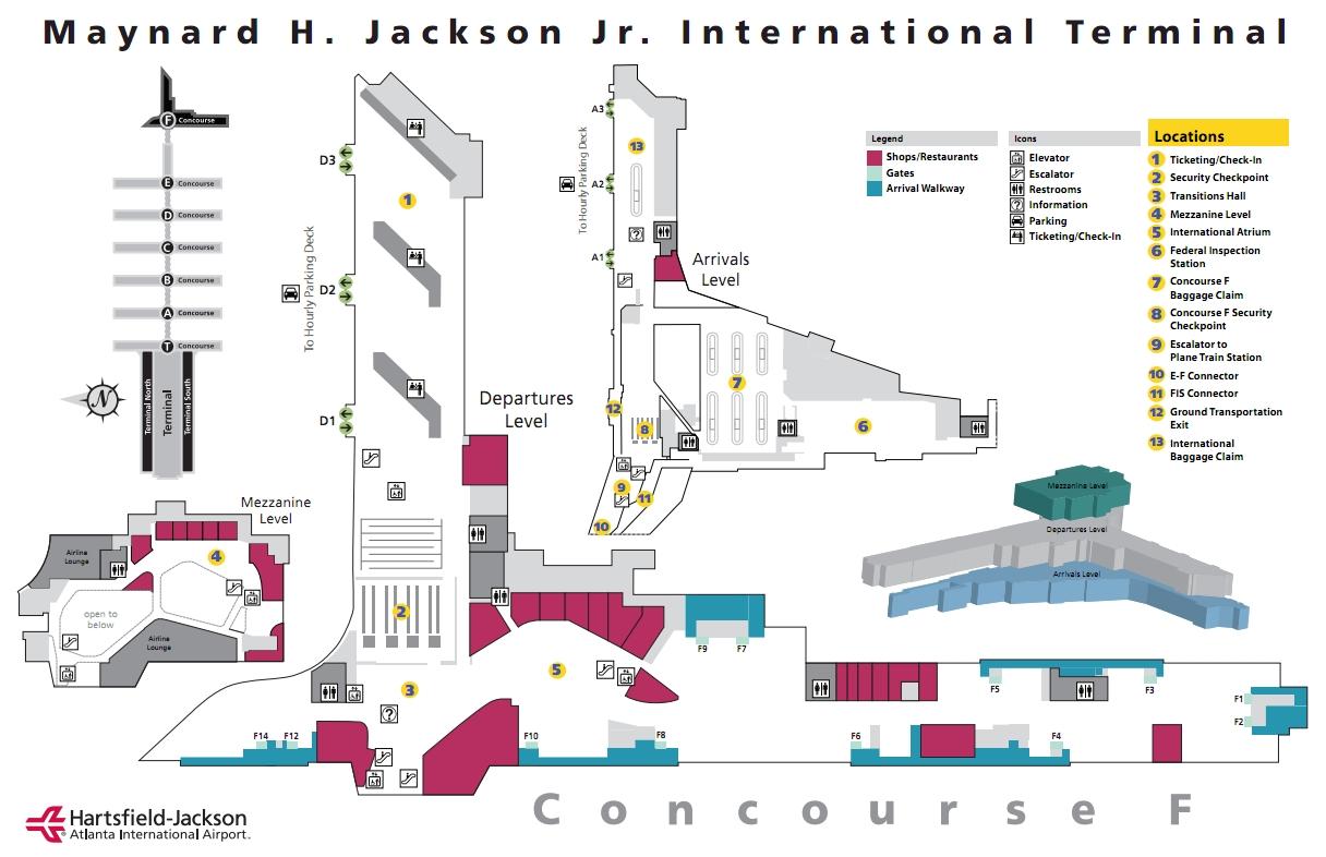 atlanta airport terminal map delta gates
