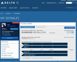 my delta skymiles page at delta-com